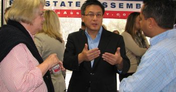 State Treasurer John Chiang at the launch of Al Muratsuchi's campaign for Assembly in Torrance. He also attended a rally for State Senate candidate Warren Furutani in San Pedro. (J.K. YAMAMOTO/Rafu Shimpo)