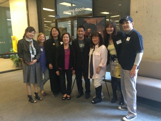 "Pictured at a Long Beach screening of ""Lil Tokyo Reporter"" on April 30 are (from left): Saeko Higa-Dickinson, translator of a book about Sei Fujii; Cindy Abrams, member of Little Tokyo Historical Society; Karen Chu, ""Lil Tokyo Reporter"" associate producer; Fumiko Carole Fujita, executive producer; Jeffrey Gee Chin, director; Keiko Shibata, event coordinator; Carolyn Midori Yano, president of Long Beach Pioneer Project; and actor Chris Tashima, who plays Fujii."
