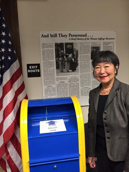 Former Assemblymember Mariko Yamada filing for candidacy for the State Senate.