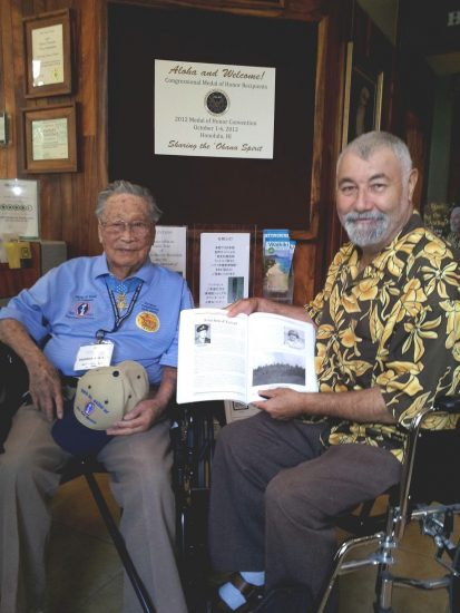 Pierre Moulin with Medal of Honor recipient George Sakato in Honolulu in 2012.