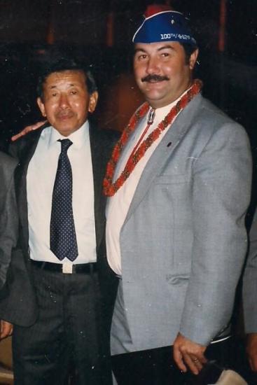 Pierre Moulin with 442nd veteran Mas Shiozaki at an E Company reunion in Denver in 1993.