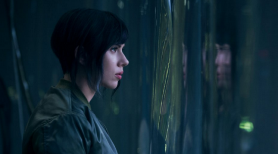 "Scarlett Johannson as Motoko Kusanagi in ""Ghost in the Shell."""