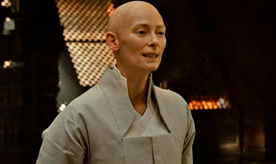 "Tilda Swinton as the Ancient One in ""Dr. Strange."""