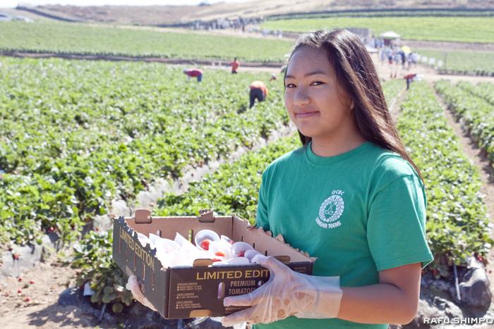 新鮮なミニトマトを持ち、参加者が来るのを待つボランティアの女の子。復興支援に賛同したこうしたボランティアの協力のもと、同イベントは成り立っている