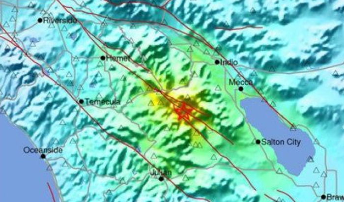 マグニチュード5・2を観測したボレゴ・スプリングス付近(南カリフォルニア地震センターより)