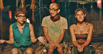 At the final Tribal Council, making their case with the jury. From left: Aubrey, Tai, Michele.