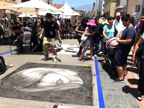 Yuji Baba drew a portrait of Taylor Swift at last year's Pasadena Chalk Festival.