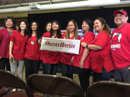 Asian American nurses show their support.