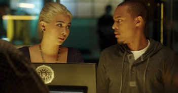"Haley Kiyoko as Raven and Shad Moss as in a scene from ""CSI: Cyber."" (CBS)"