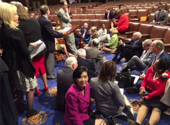Rep. Judy Chu (D-Pasaena) sitting with her colleagues on the House floor.