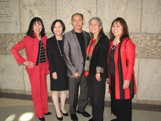 From left: Karen Korematsu with coram nobis attorneys Kathryn Bannai, Dale Minami, Karen Kai and Peggy Nagae.