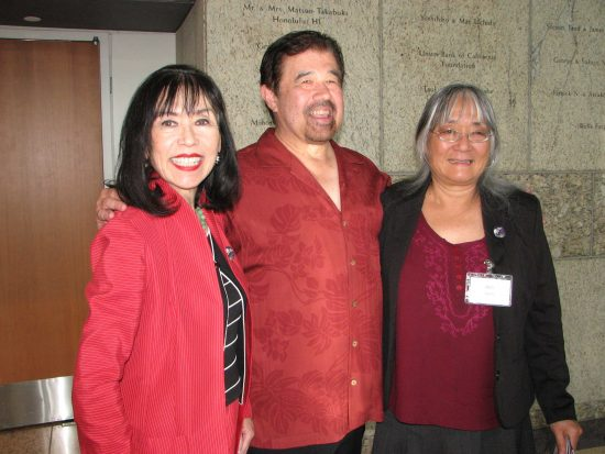 From left: Karen Korematsu, daughter of Fred Korematsu; Lane Hirabayashi, nephew of Gordon Hirabayashi; Holly Yasui, daughter of Minoru Yasui.