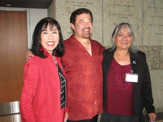 From left: Karen Korematsu, daughter of Fred Korematsu; Lane Hirabayashi, nephew of Gordon Hirabayashi; Holly Yasui, daughter of Minoru Yasui.