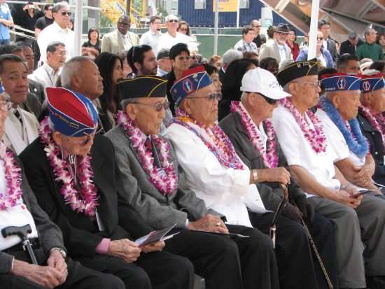 Nisei veterans were honored guests at the opening ceremony.