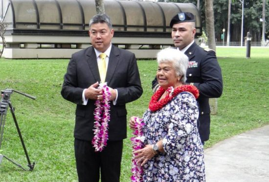 Rep. Mark Takai honors the service and sacrifice of 1st Lt. John Kuulei Kauhaihao along with his widow, Shirley Kauhaihao, and Hawaii Army National Guard Maj. Dion Kaimihana at the Korean Vietnam Veterans Memorial.