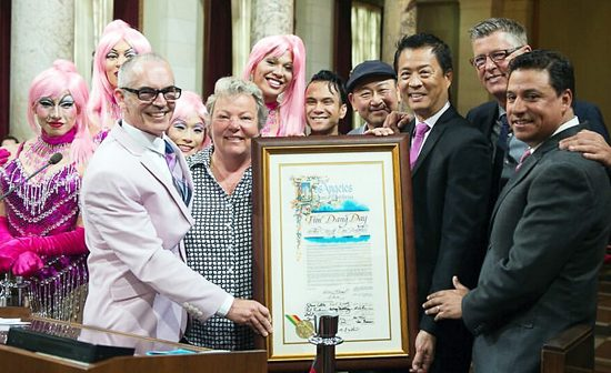 "The Los Angeles City Council on June 14 proclaimed Tim Dang Day in the City of Los Angeles in honor of East West Players Producing Artistic Director Tim Dang for his dedicated service to the Asian Pacific American theater company, live theater in general, and the collaboration with the Los Angeles LGBT Center during the current production of ""La Cage aux Folles,"" which closed June 26. The musical is EWP's top-grossing show of all time, allowing Dang to leave on a high note after 23 years at the helm. Pictured from left: Carlos Chang, Alex Sanchez, Councilmember Mitch O'Farrell, Jonathan Kim, Lorri Jean (president and CEO, Los Angeles LGBT Center), Christopher Aguilar, Allen Lucky Weaver, Gedde Watanabe, Tim Dang, Darrel Cummings (chief of staff, Los Angeles LGBT Center), and Councilmember Jose Huizar."