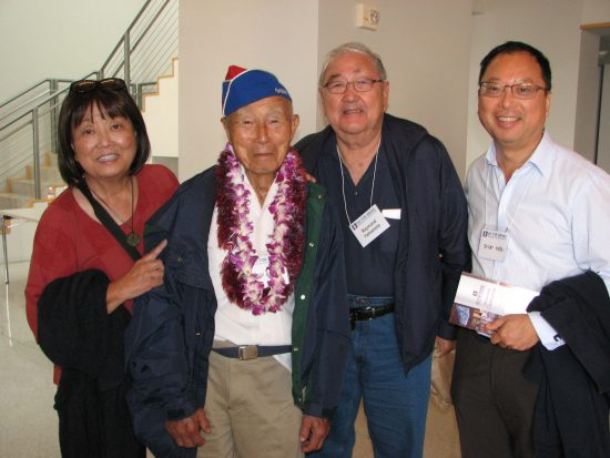 From left: Carrie Morita; Hiroshi Arisumi, 232nd Combat Engineers, past president of the Maui Nisei Veterans Memorial Center; Ray Yamamoto; Brian Goto, current president of the Maui Nisei Veterans Memorial Center.