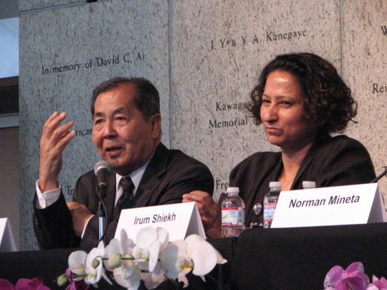 Panelists Ron Wakabayashi and Irum Sheikh.