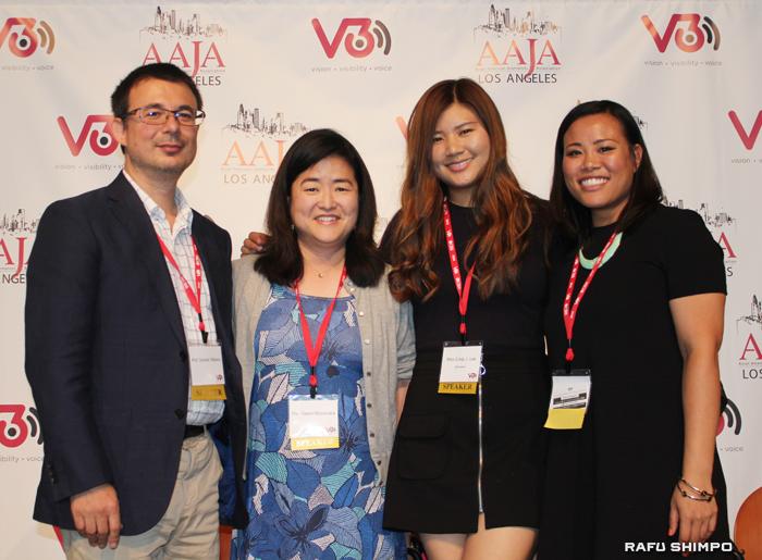 デジタル化に取り組むLAのエスニックメディアの代表として現在行っている取り組みを発表した羅府新報社の英語部編集長グエン・ムラナカ氏(左から2人目)