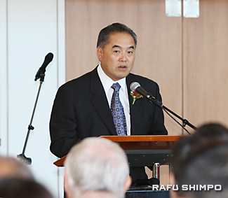 第76回二世週祭の開会を宣言するテラガワ委員長
