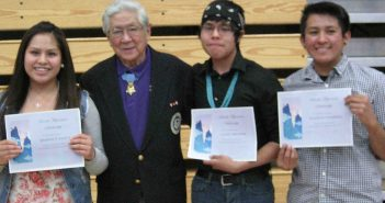 "Scholarship recipients Shania N. Yazzie, Larry Belinte and Kolton Sorrell with Hiroshi ""Hershey"" Miyamura."