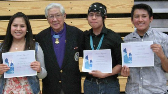 "Scholarship recipients Shania N. Yazzie, Larry Belinte and Kolton Sorrell with Hiroshi ""Hershey"" Miyamura."