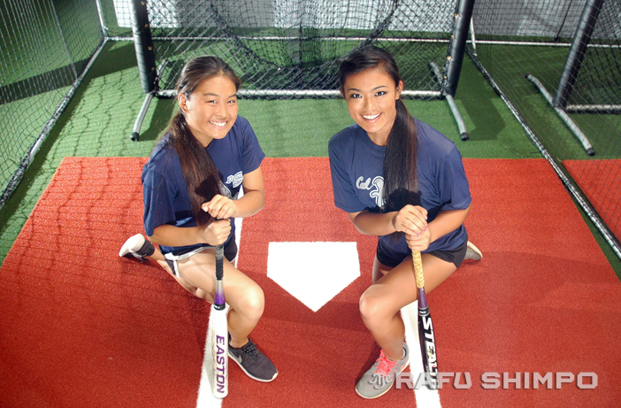 Jennifer Morinishi, left, and Jennifer Iseri are part of the American squad that will play several friendly games against a professional softball team from Japan this week. The games are today and Friday at Santa Ana College, and Saturday and Sunday at Fullerton College. (MIKEY HIRANO CULROSS, Rafu Shimpo)