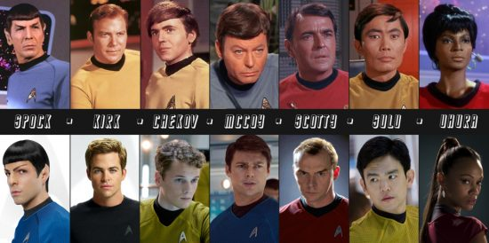 "Comparing the original and latest cast of ""Star Trek.""  (Copyright DeviantArt)"