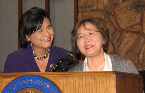 Dr. Keiko Ikeda (right) with Rep. Judy Chu at a press conference held by the Ad Hoc Committee to Save Keiro in January. (J.K. YAMAMOTO/Rafu Shimpo)