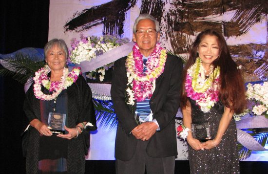 Carol Tanita (right) spoke on behalf of fellow Community Spirit Award recipients Yasuko Sakamoto and Gordon Tani.