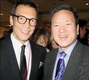 Newly elected National JACL President Gary Mayeda (right) with ABC7 news anchor David Ono, who emceed the installation.