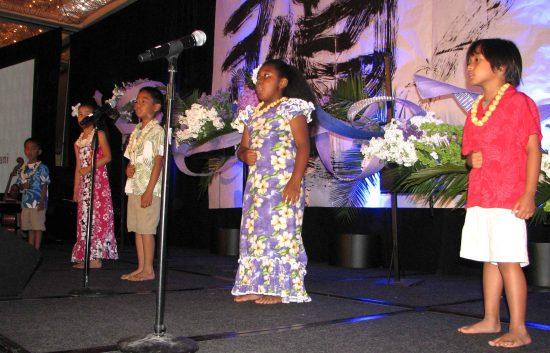 Kids from Halau Keali'i O Nalani performed Hawaiian songs and dance.