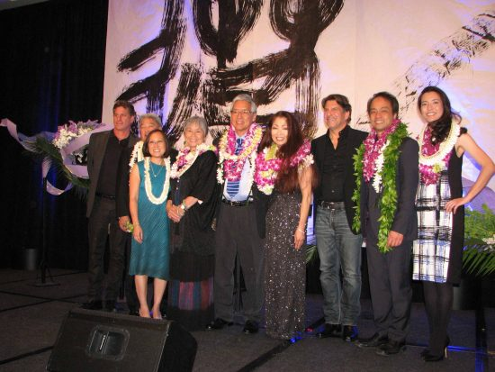 From left: Phil Celia (for Ambassador Award recipient Bose Professional), Steven Morikawa (for Chairman's Award recipient American Honda Motor Co. Inc.), JACCC CEO Leslie Ito, Community Spirit Award recipients Yasuko Sakamoto, Gordon Tani and Carol Tanita, Doug Green (Bose Professional), Pacific Pioneer Award recipients Daniel Ho and Lydia Miyashiro-Ho.