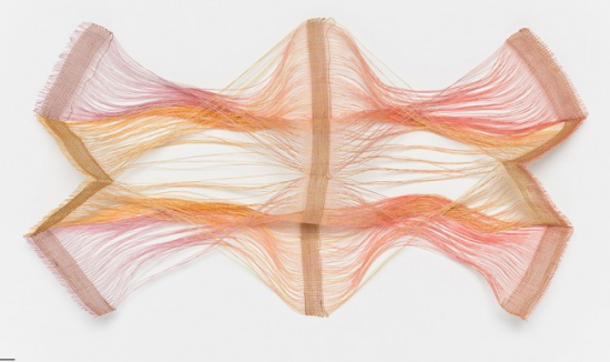 "Kay Sekimachi, ""Study for Crossed-Warp Effect,"" 1980s. Linen, dye; four-layer continuous-weft weave and crossed warp on an eight-harness loom, dimensions variable. Collection of the artist. Image © Fine Arts Museums of San Francisco"