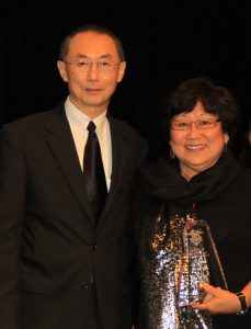"""Outgoing National JACL President David Lin with JA of the Biennium honoree Delphine Hirasuna, author of """"The Art of Gaman."""" (Photo by Thomas Nishikawa)"""
