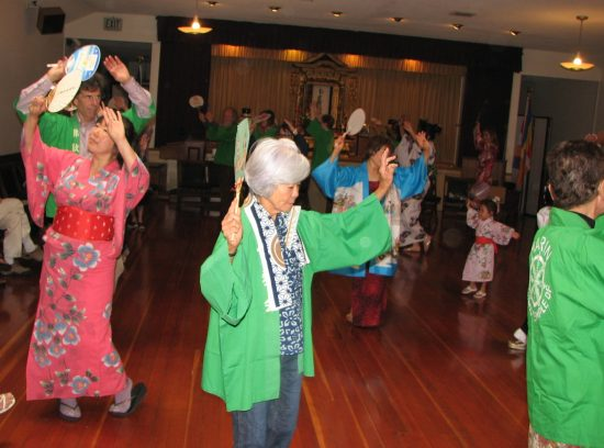 Dancing at Marin Buddhist Temple's Obon celebration in 2013. (J.K. YAMAMOTO/Rafu Shimpo)