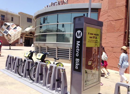 One of the bike-share stations in Little Tokyo is located in front of the Japanese American National Museum. (JUNKO YOSHIDA/Rafu Shimpo)