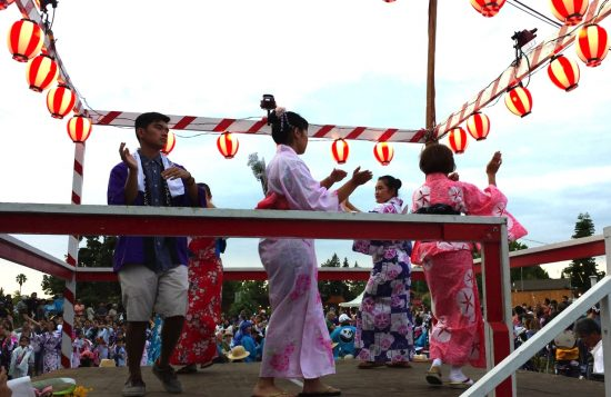 Lead dancers on the yagura during Mountain View Buddhist Temple's Bon Odori.