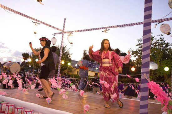 Dancers on the yagura at the 2012 Obon Festival.
