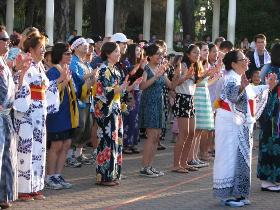 Obon dancers in Spreckels Pavilion during last year's Bon Odori. (J.K. YAMAMOTO/Rafu Shimpo)