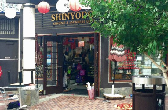 Shinyodo the morning after the standoff. The store remained closed on Monday. (Photo by Steve Nagano)