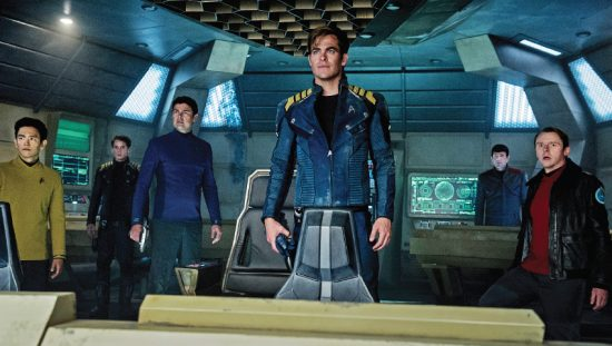 "Seeing is not quite believing for Starship Enterprise crewmembers – from left, Sulu (John Cho), Chekov (Anton Yelchin), Dr. McCoy (Karl Urban), Capt. Kirk (Chris Pine), Mr. Spock (Zachary Quinto) and Scotty (Simon Pegg) in ""Star Trek Beyond,"" the latest film in the modern reboot in the franchise. (Kimberly French/Paramount Pictures)"