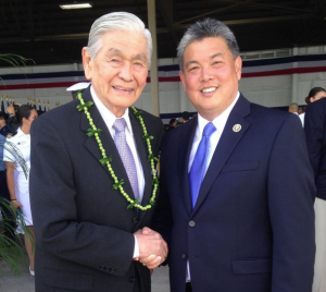 Rep. Mark Takai with former Hawaii Gov. George Ariyoshi in May 2015.
