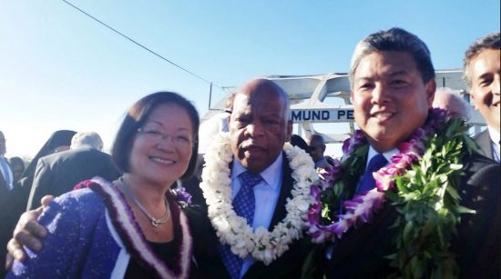 "Rep. Mark Takai, Rep. John Lewis (D-Ga.) and Sen. Mazie Hirono (D-Hawaii) visited Selma, Ala. last year to mark the 50th anniversary of the ""Bloody Sunday"" march."