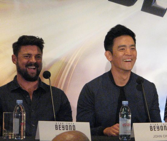 A lighter moment with John Cho and Karl Urban during the press junket. (J.K. YAMAMOTO/Rafu Shimpo)
