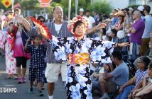 A scene from West Los Angeles Buddhist Temple's 2015 Bon Odori. (MARIO G. REYES/Rafu Shimpo)