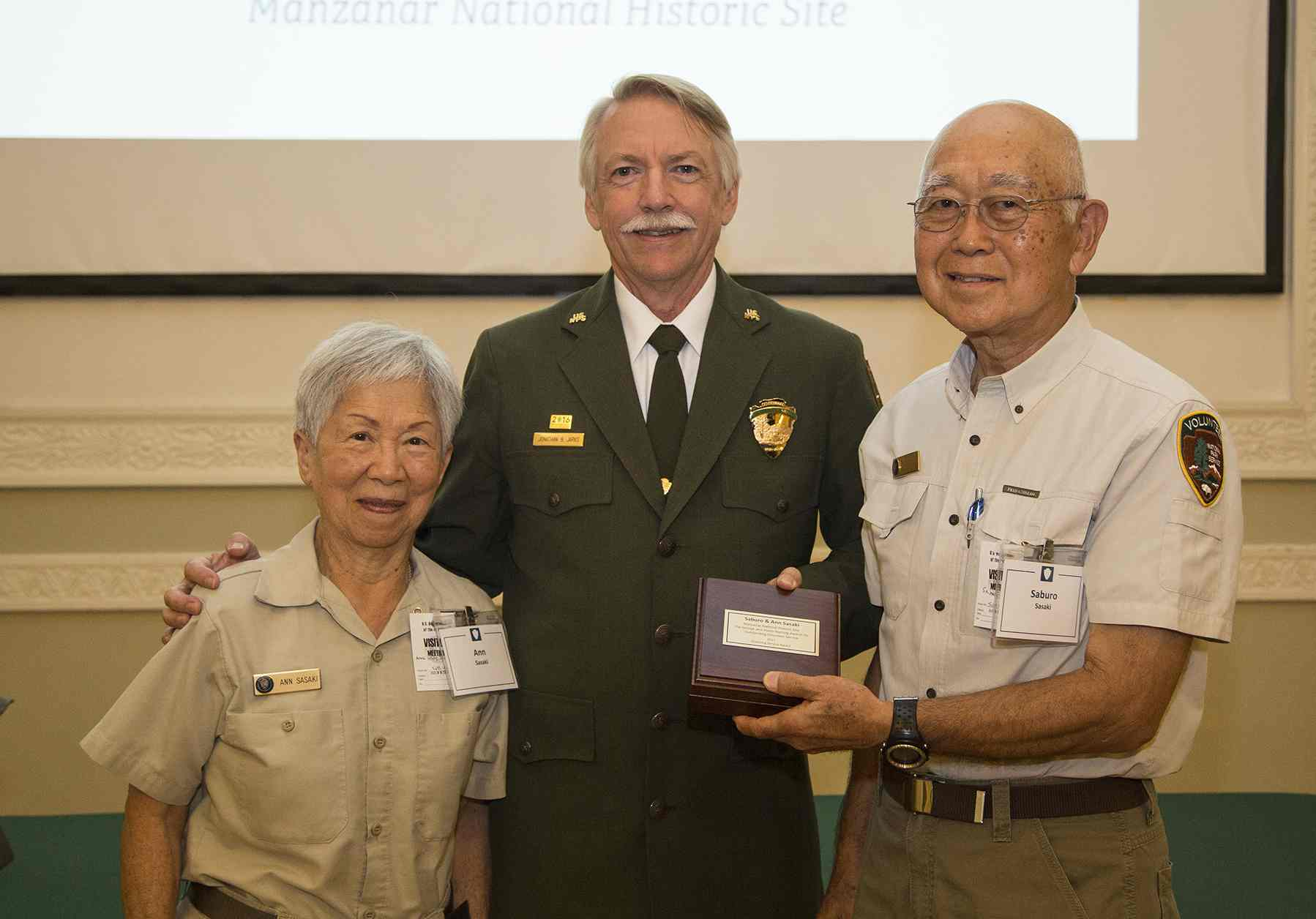 Volunteers Ann and Saburo Sasaki with National Park Service Director Jon Jarvis on Aug. 9 in Washington, D.C. (NPS Photo)