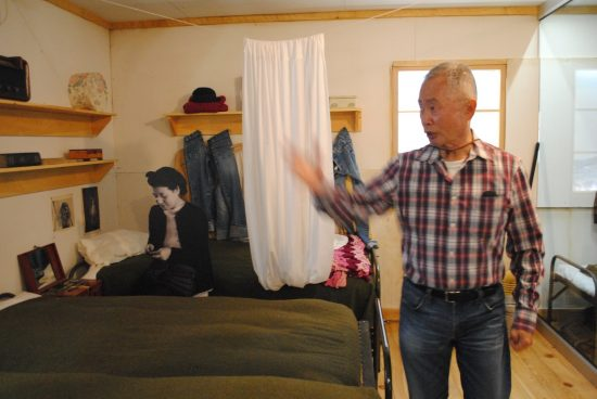 George Takei in the replica barracks at Heart Mountain.