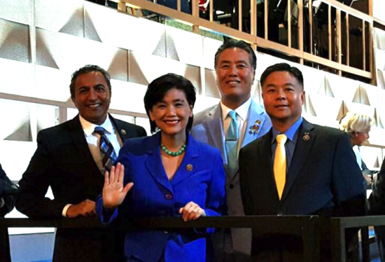 From left: CAPAC members Ami Bera, Judy Chu, Mark Takano and Ted Lieu just before they went to the podium at the Democratic National Convention. (AAPI for Hillary)