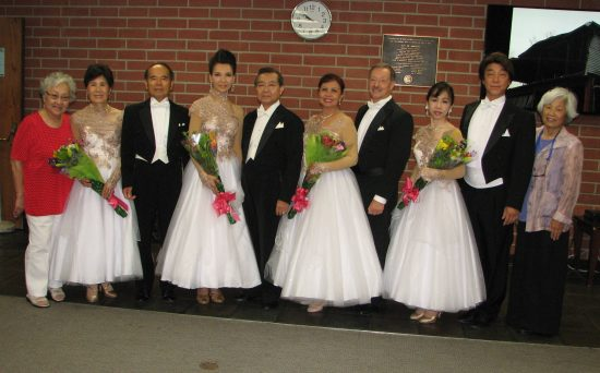 From left: Janet Okubo of GLA JACL; dance partners Kikue and Shoji Miyagishima, Gira Nakamoto and David Shinjo, Cora Alvar Ravelo and David Hribar, Satomi Seo and Yoshi Ishii; and Miyako Kadogawa of GLA JACL.